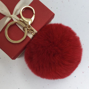 Fur pom pom keychain keyring fur ball bag charm Rex Rabbit Fur deep red