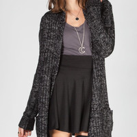 Full Tilt Womens Cable Knit Cardigan Black/Grey  In Sizes
