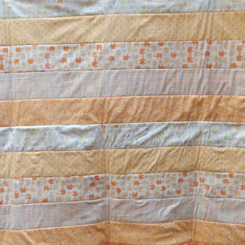 Peach Elephant Baby Quilt  - Strip Quilted Crib Quilt with Quatrefoil Backer - Peach, Cream, Gray and Lime