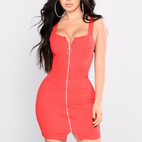 Don't Rush Mini Dress - Red