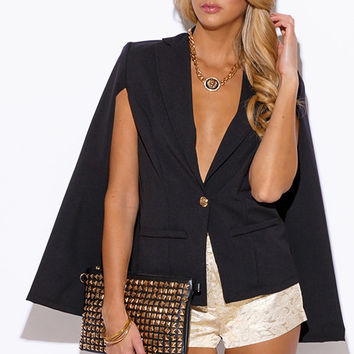 Military Button Cape Jacket Suiting Blazer Black