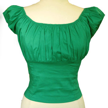 Shamrock Green Peasant Top retro vintage style Off shoulder