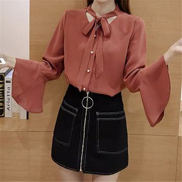 New  Fashion Solid Bow Tie Chiffon Blouse Flare Sleeve V-Neck Button Blusas Casual Shirt Elegant Women Tops Plus Size 72709 GS