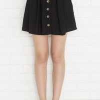 Black button down rayon bubble miniskirt with pockets