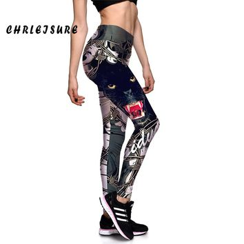 Anime Print Leggings Black Cat Stretch Waist Leggings