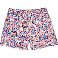River Island MensPink tile print beach shorts