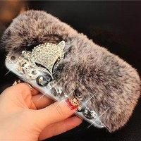 3D Luxury Bling Diamond Rabbit Fur Case Fox Head Phone Case Cover For iPhone 4s 5s 5C 6 6s plus 7 7 plus For Samsung Moble Phone