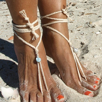Braided larimar wire wrapped pendant silver barefoot sandals Yoga shoes Crochet beach wedding Boho anklet Eco-friendly anklet Caribbean