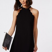 Missguided - Crepe Scallop Edge Halter Swing Dress Black