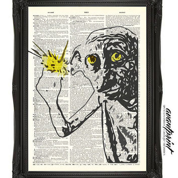 Adorable and Loyal Dobby Harry Potter Print on Unframed Upcycled Bookpage