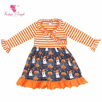 Kaiya Angel Fashion 2018 Halloween Orange Pumpkin Ghost Toddler Girl Party Costume Dresses Summer Autumn Winter Boutique Clothes