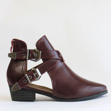Pride Buckle Cut Out Ankle Boots