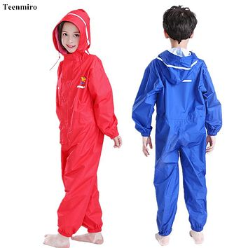 Infant Raincoat For Children Kids Rainwear Overalls Boys Girls Watertight Cloak Red Blue One Piece Rainsuit Hooded Snowsuit