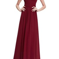 Burgundy Zipper Double-deck Pleated Epaulet Backless Elegant Maxi Dress