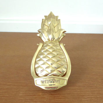 Brass pineapple door knocker, WELCOME pineapple