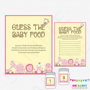 Guess the Baby Food, Girl Safari, Safari Baby Shower Games, Guess the Baby Food Printable, Instant Download, Jungle Baby Shower, BS0001-P