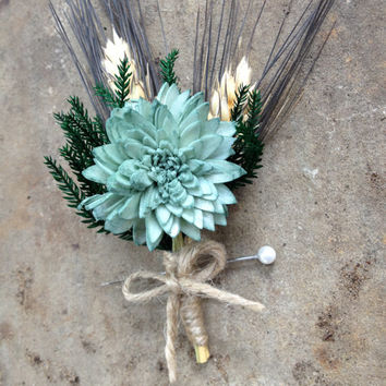 Handmade Wedding Boutonnieres - Sage Green Sola China Flower, Blackbeard Wheat Boutonnieres, Princess Pine Boutonnieres, Twine