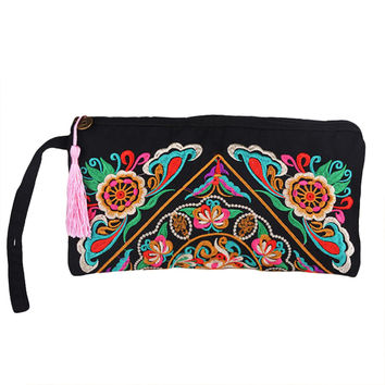 Women Wallets Clutch Bag Embroidery Contrast Wrist Strap Elegant Mobile Phone Bag Purse Carteira Feminina SM6