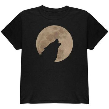 CREYCY8 Wolf Howling Moon Silhouette Youth T Shirt