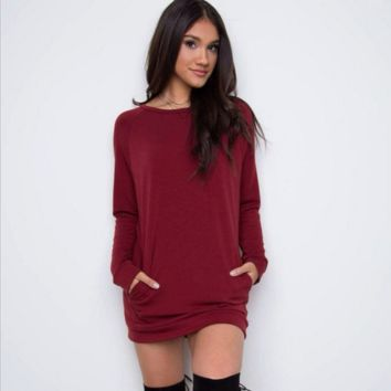 Round Neck Pocket Dress B0014322