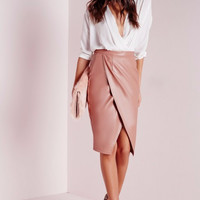 Irregular Faux Leather Skirt