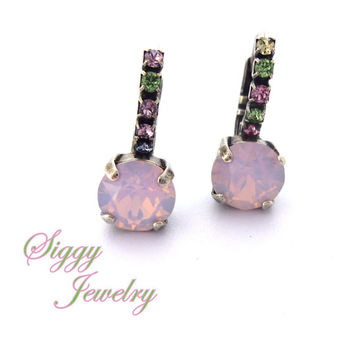 Swarovski Crystal Earrings, rose water opal with pastel accents, bridesmaids gift, Spring collection, Siggy Jewelry