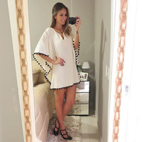 2015 Batwing Sleeve White Casual Dress For Womens Work Office Dress Mini V-neck Sexy Elegant Loose  Party Dresses Free shipping