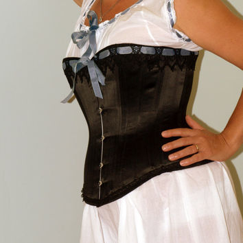 Black Victorian Corset and chemise by LaBelleFairy on Etsy