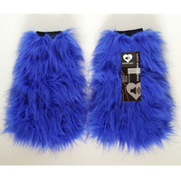MADE TO ORDER  GLiTTeR royal blue Fluffies Fuzzy Leg Warmers fluffy boot covers sparkle gogo rave fluffieS costume festival leggings cosplay