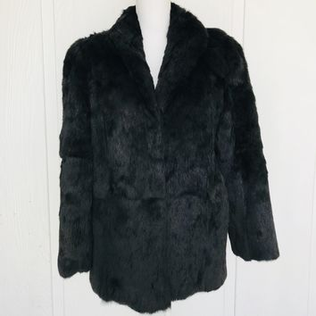 Vintage DYED Solid Black Rabbit Fur Coat, Size Medium