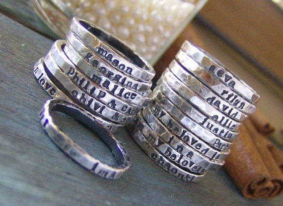 Personalized stackable stacking ringshand by cinnamonsticks