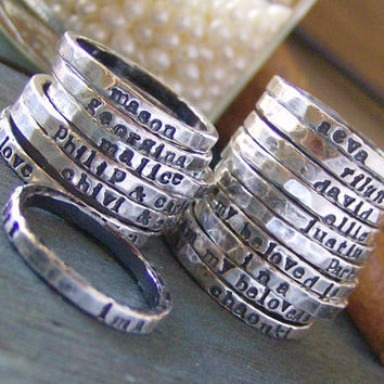 Personalized stacking ringshand stamped fine by cinnamonsticks