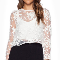 White Lace Long Sleeve Cover Up