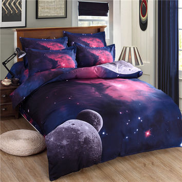 New Universe Outer Space Themed Bedspread 3pcs/4pcs Bed Linen Bed Sheets Duvet Cover Set 3d Galaxy Bedding Sets Twin/Queen Size