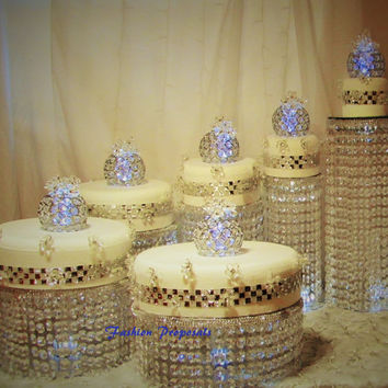 Wedding Cake Stand Cascade waterfall crystal set of 6 Asian Wedding Crystal cake Stand wedding with a battery operated LED light.