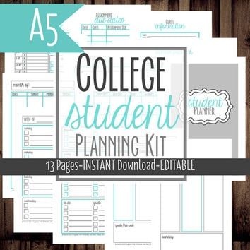 A5 Filofax-Student Planner-College Planner, Homework Planner, Printable-Filofax Insert-13 Sheets-Blue-INSTANT DOWNLOAD & EDITABLE