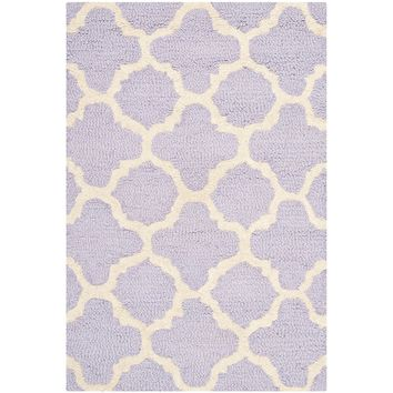 Safavieh Cambridge Collection CAM130C Handmade Moroccan Geometric Lavender and Ivory Premium Wool Area Rug (2' x 3')