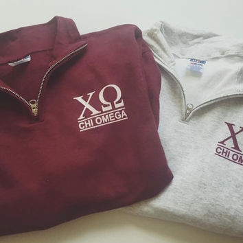 New Chi Omega Maroon Grey & More Stripe Quarter Zip Sweatshirt // Size Small-2XL // Pick Your Color