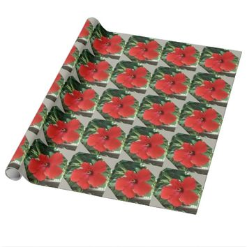 hibiscus red and silver gift wrapping paper