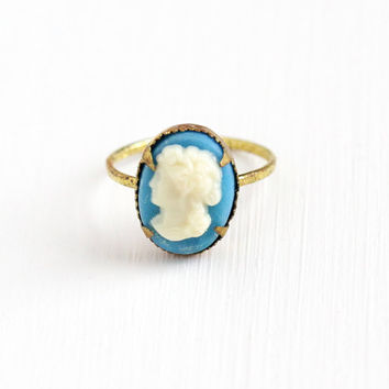 Vintage Brass Cameo Czech Ring - 1930s Size 3 1/2 Lucite Off White on Baby Blue Czechoslovakia Cameo Pinky Children's Costume Jewelry