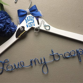 State Trooper Custom Wire Wedding Hanger - Love my trooper -   Great wedding and engagement gift.
