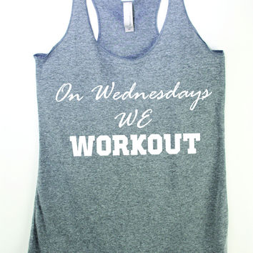 On Wednesdays We Workout cute Mean Girl Inspired Fitness tank top