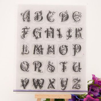 DIY floral art ABCD letter alphabet set design scrapbooking clear stamp silicone rubber craft accessories