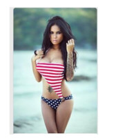 HOT ONE PIECE STRIPE FLAG BIKINIS