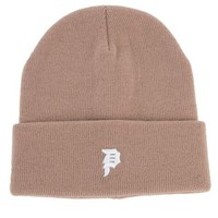 The Mini Dirty P Beanie in Camel