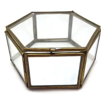Clear Glass Box Display Case - Geometric Glass Jewelry Box, Hexagon