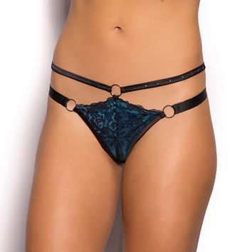 Vamp Darcie Mini V Knicker - Black/Blue - Vamp Collection - Collections