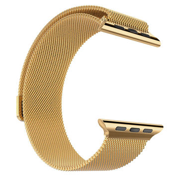 Stainless Steel 14k Gold Finish 42mm Milanese Loop Apple Watch Mesh Band