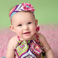 Bright Pink, Lime, Purple, Teal, and Yellow Ruffle Romper with FREE matching headband, photography prop, cake smash, first birthday outfit