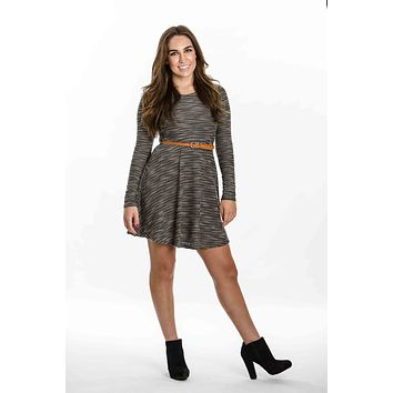 Long Sleeve Dress With Belt by YaLA